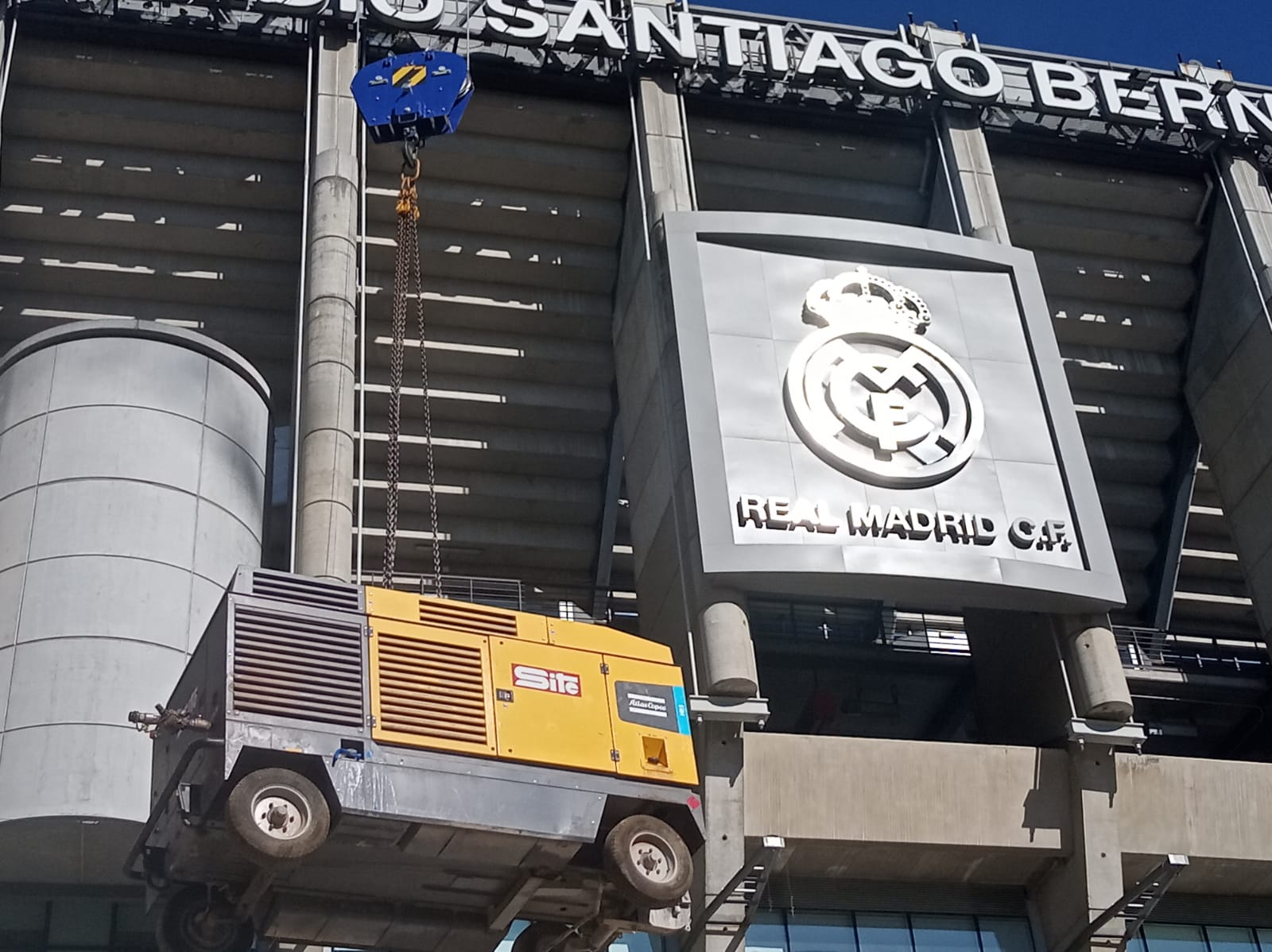 Remodelación estadio Santiago Bernabeu Foto sacada Linkedin de Atlas Copco